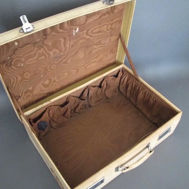 Antique 1920 Cream Vellum Suitcase For Sale - Image 10 of 11
