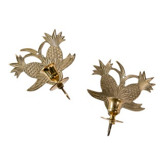 Madcap Cottage Brass Pineapple Candelabra Wall Sconces, Pair For Sale