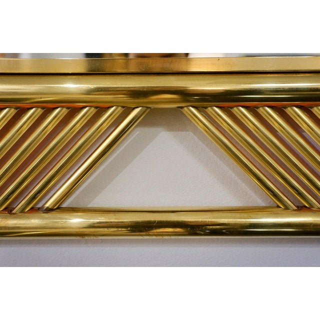 Contemporary Minimalist Italian Gold Brass Mirror With Modern Baguette Fretwork For Sale - Image 4 of 6