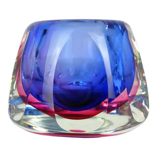 Flavio Poli Faceted Murano Glass Vase For Sale