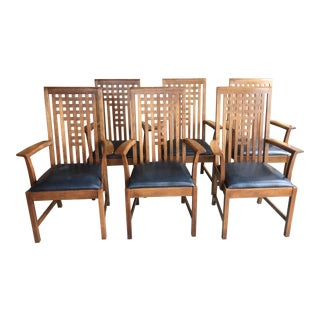 Modern Stickley Leather Seat Lattice Armchairs- Set of 6 For Sale