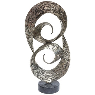 1970s Vintage Dual Spiral Black Washed Hand Hammered Aluminum and Marble Sculpture For Sale