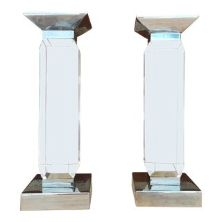 Vintage Modern Lucite Candlesticks - a Pair For Sale