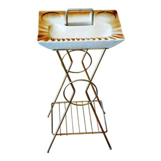 Vintage Mid-Century Modern Smoking Cocktail Magazine Ashtray Stand Table For Sale