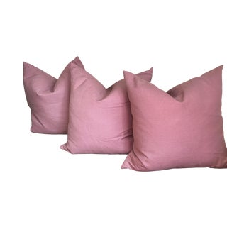 Contemporary Plum Linen Set of 3 Pillow Covers - 22 X 22 For Sale