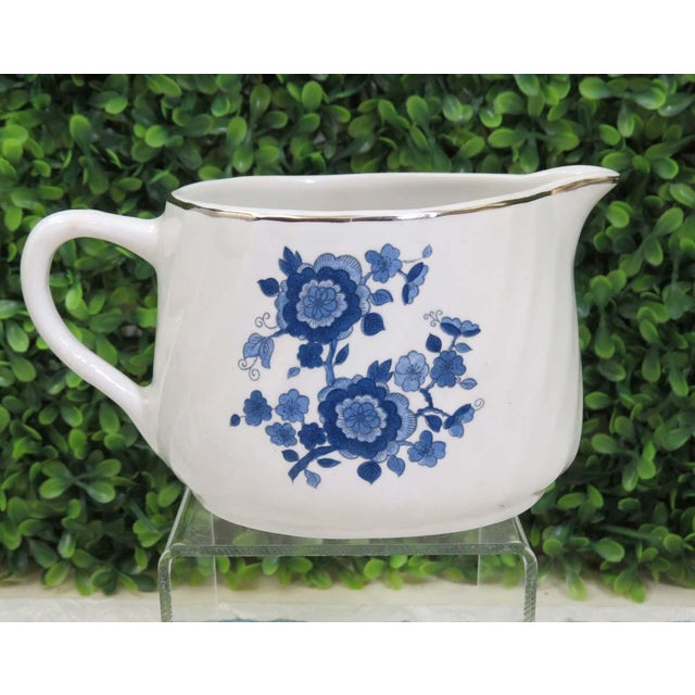 Vintage Mismatched Sugar Bowl & Creamer With Tray For Sale - Image 9 of 13