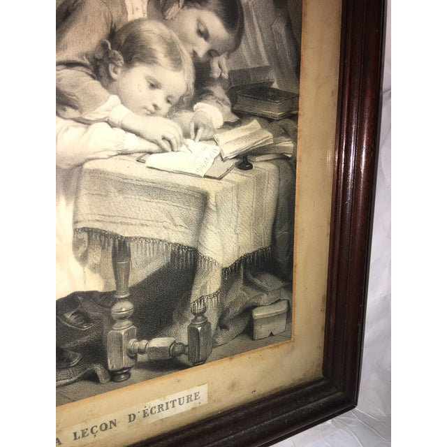 "19th Century ""The Writing Lesson"" Lithograph - Image 9 of 11"
