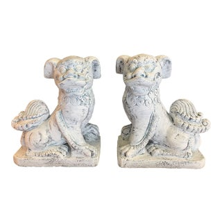 Vintage Mid Century Aged Stone Foo Dogs- A Pair For Sale