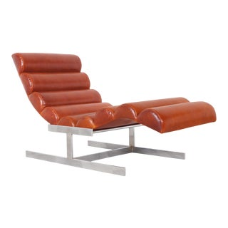 "Vintage Chrome and Leather ""Wave"" Chaise Lounge Attributed to Milo Baughman For Sale"