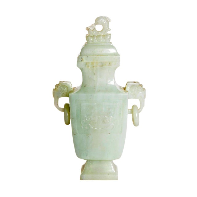 Late 19th / Early 20th Century Pale Celadon Jade Vase & Cover, China, Qing Dynasty For Sale