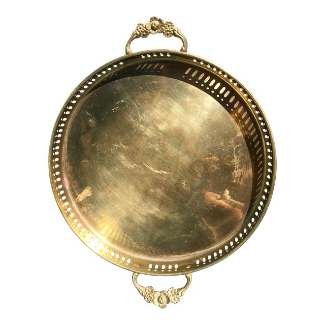 Vintage Brass Tray with Handles - Image 1 of 6