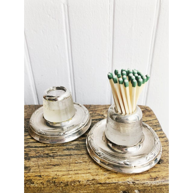 Metal Antique English Sterling Silver and Glass Match Strikers - a Pair For Sale - Image 7 of 10