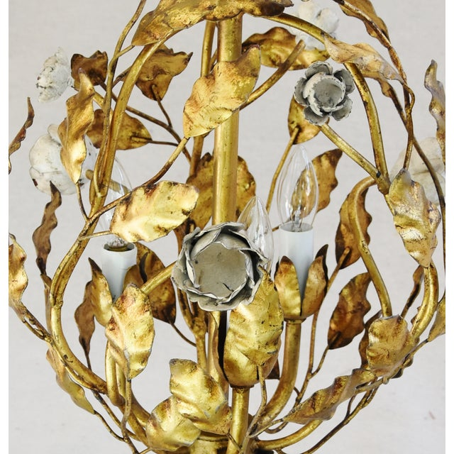 Vintage Three-Arm/Light Italian Gold Gilt Ball Tole Chandelier For Sale - Image 9 of 11
