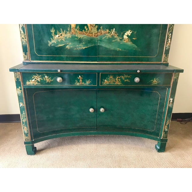 Chinoiserie Green Lacquer Secretary Desk China Display Cabinet For Sale - Image 4 of 13