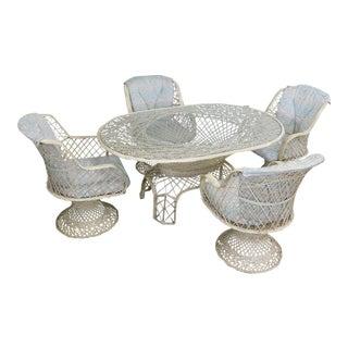 Russell Woodard Spun Fiberglass Mid Century Modern Table + 4 Chairs Dining Set For Sale