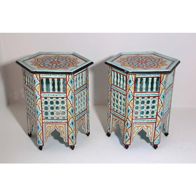 Late 20th Century Moroccan Hand Painted Ivory Tables - a Pair For Sale - Image 5 of 13