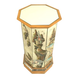 1940s French Chinoiserie-Decorated Mirrored Pedestal For Sale