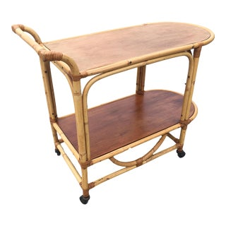Two-Tier Rattan and Mahogany Tombstone Bar Cart For Sale