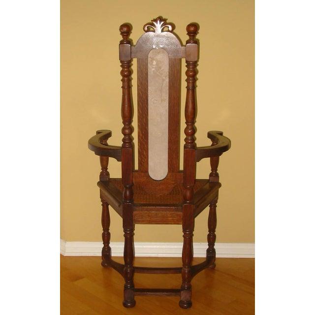 Berkey & Gay Jacobean Cane & Cowhide Arm Chair - Image 4 of 11