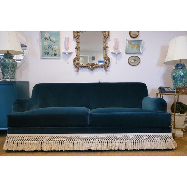 Teal Velvet And Fringe Sofa For Sale - Image 4 of 6
