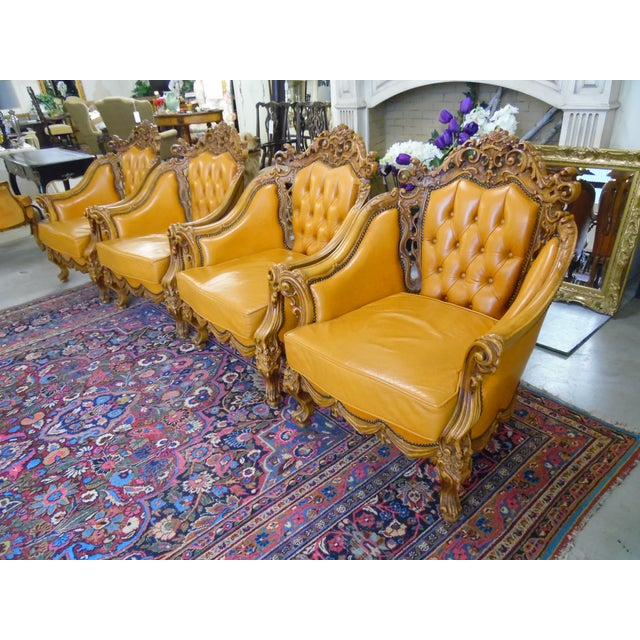 1930s Hand Carved Leather Chairs - Set of 4 For Sale - Image 9 of 9