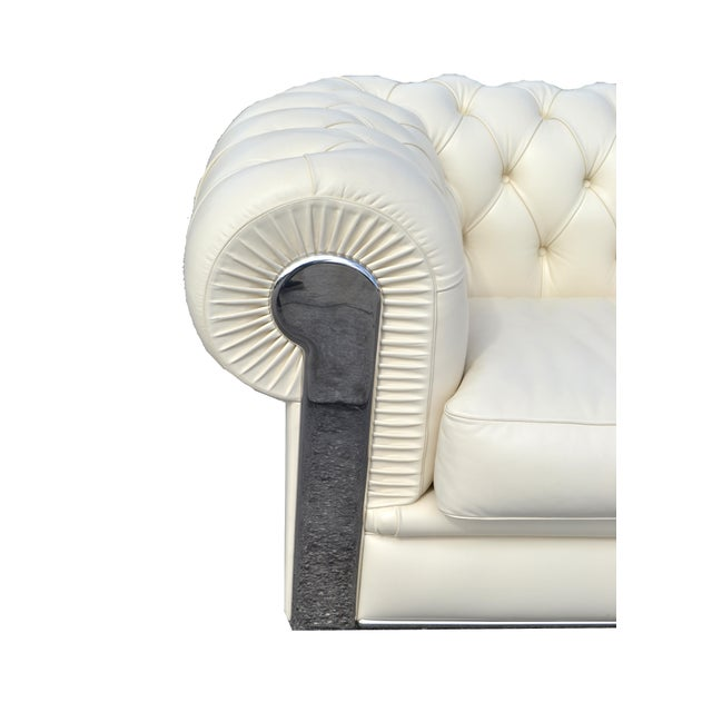 1990s Fendi Casa Albino Tufted Leather Sofa in Chesterfield Style For Sale - Image 5 of 11