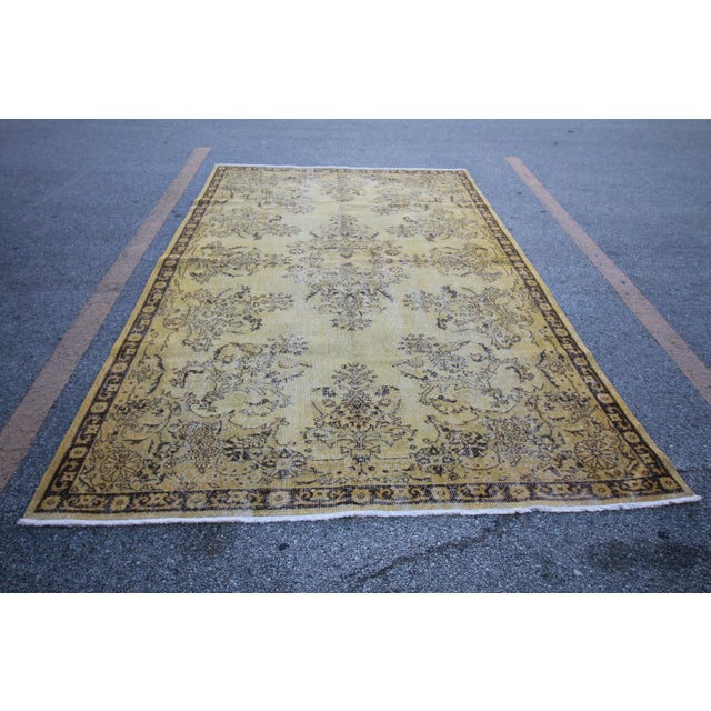 "Vintage Distressed Overdyed Rug - 6'8"" X 10'4"" For Sale - Image 4 of 6"