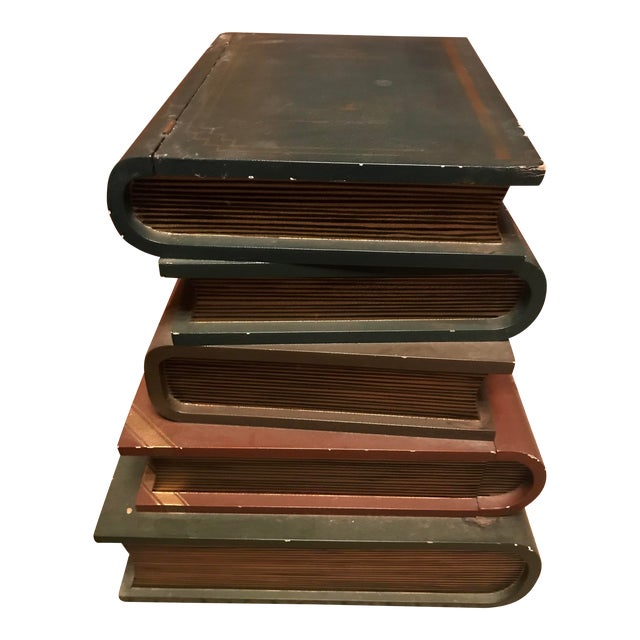 1970s Figurative Wood Faux Book-Stack End Table For Sale