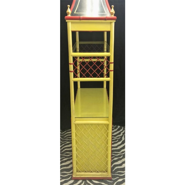Wood Palm Beach Chinoiserie Pagoda Display Cabinet For Sale - Image 7 of 8