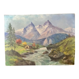 1940s Vintage French Landscape Oil Painting For Sale