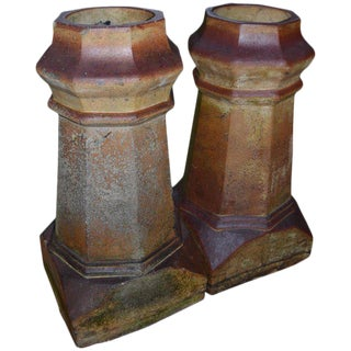 Garden Ornamental Clay Chimney Pots From London Rooftops, Circa 1880, Pair