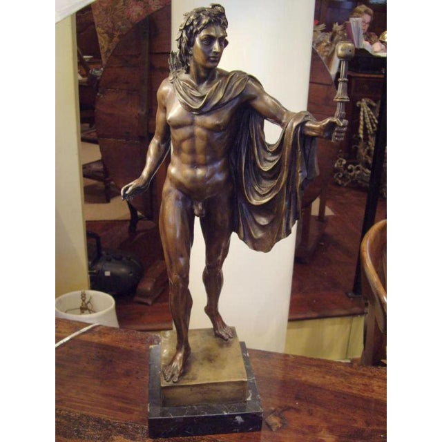 19th Century Italian Male Nude Bronze Statue For Sale - Image 4 of 5