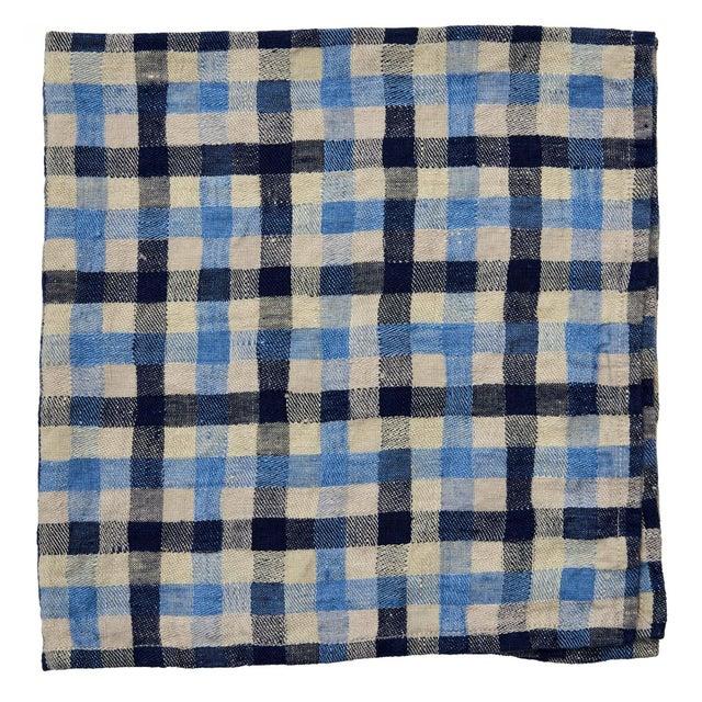 American Deborah Rhodes Checkerboard Napkins, Pool Blue/Navy, Set of 4 For Sale - Image 3 of 3