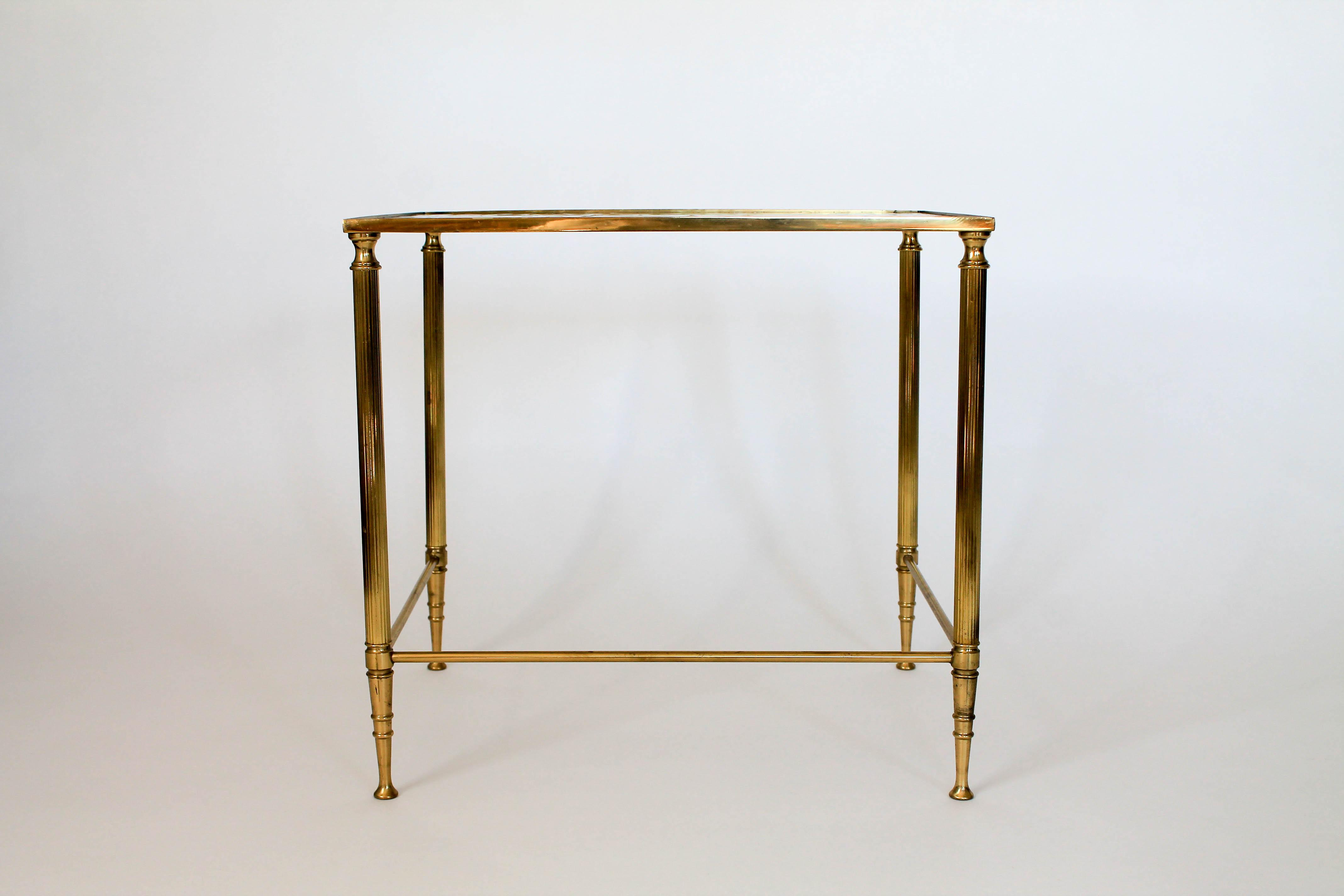 Small Brass And Glass Side Table With Fluted Colomn Legs And Wavy Glass  Top. No