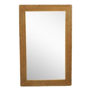 Vintage Large Lexington Braided Rattan Wicker Framed Mirror For Sale