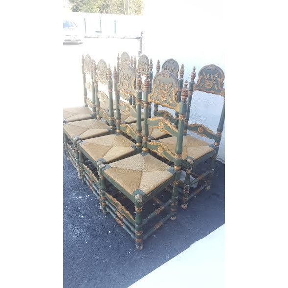 Green Painted Ladder Back Dining Chairs- Set of 8 - Image 3 of 10