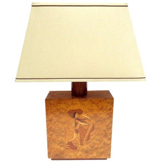 Inlaid Burl Table Lamp by Andrew Szoeke, 1950s