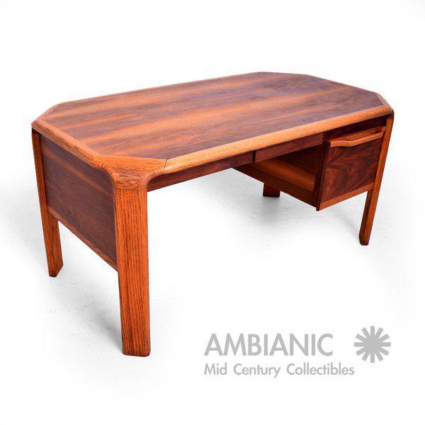 Distinguished Lou Hodges Walnut Oak Mid Century Modern Desk Decaso