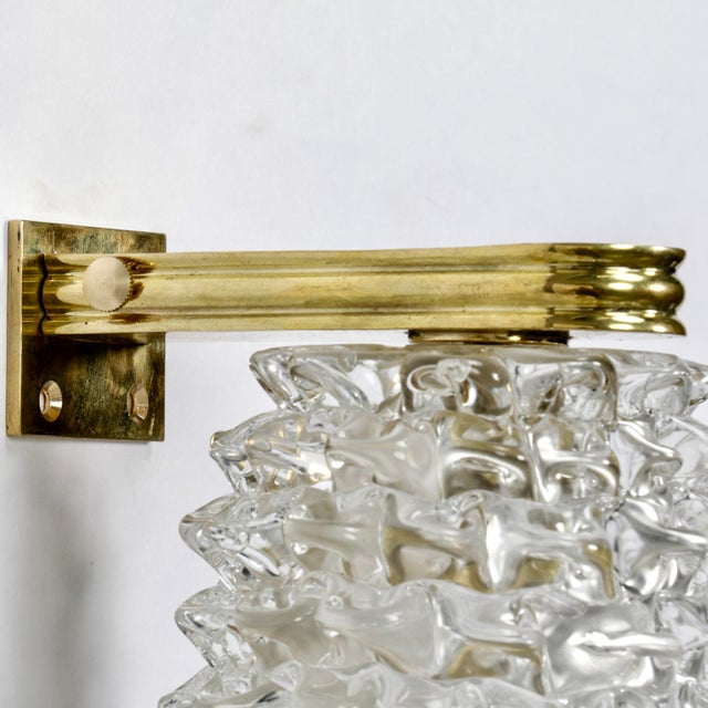 Pair of Mid-Century Murano Bubble Glass and Brass Sconces For Sale In Detroit - Image 6 of 6