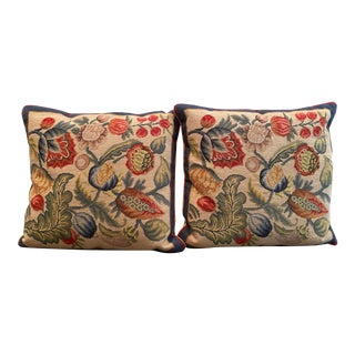 Pair of Decorative Embroidered Throw Pillows For Sale