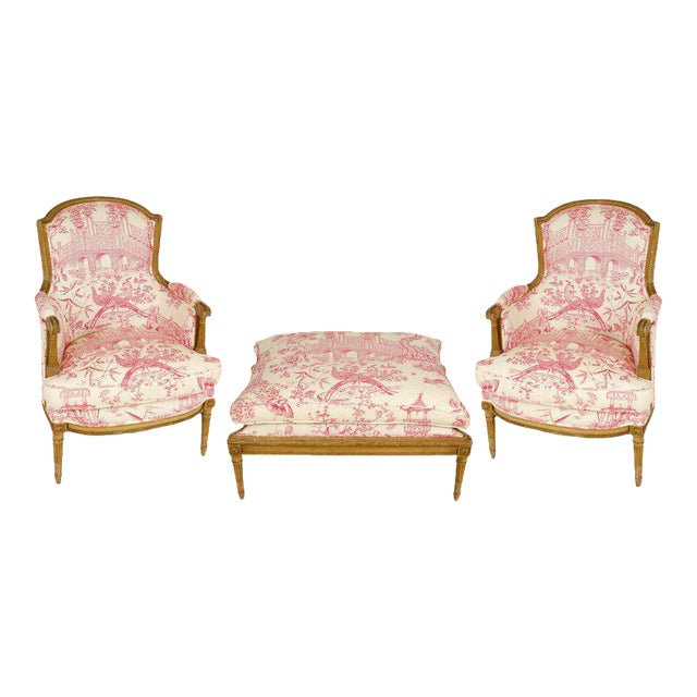 Pair of Louis XVI Style Bergères with Ottoman - Image 1 of 5