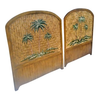 A Pair Stunning Wood Rattan Weaved Hand Painted Palm Tree Twin Size Regency Headboards For Sale