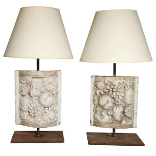 Pair of White Faience Table Lamps With Fruit Decoration Panel For Sale