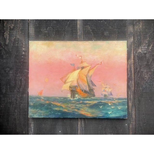 Tall Ship Oil Painting Signed C. Freitas For Sale - Image 6 of 12