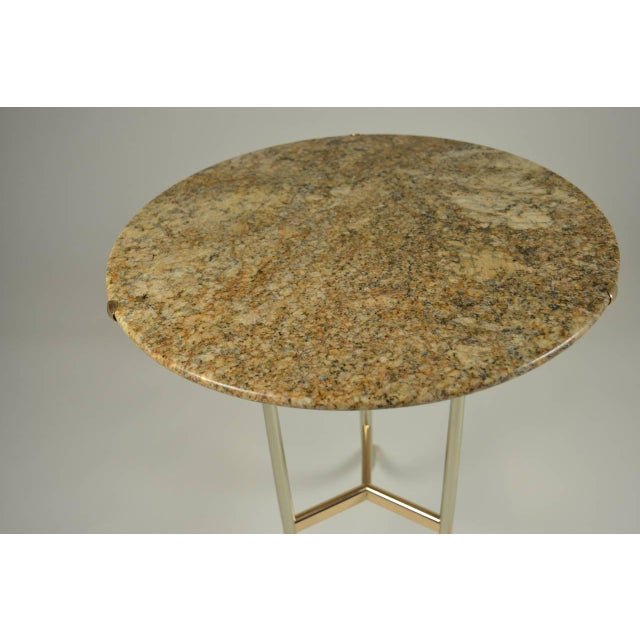 Modern Cedric Hartman Side Table, Steel and Brass Base For Sale - Image 3 of 10