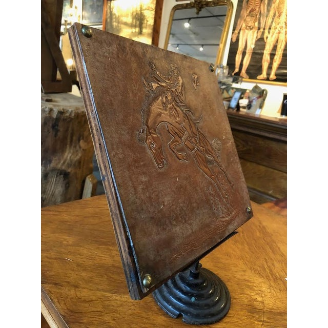 Wood Leather Tooled Cowboy Plaque For Sale - Image 7 of 9