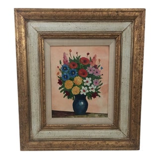Vintage 1970s Classic Floral Painting Framed For Sale