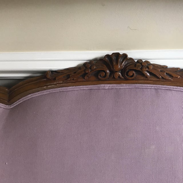Traditional 20th Century Louis XVI Style Purple Linen Upholstered Cherrywood Trimmed Sofa For Sale - Image 3 of 6