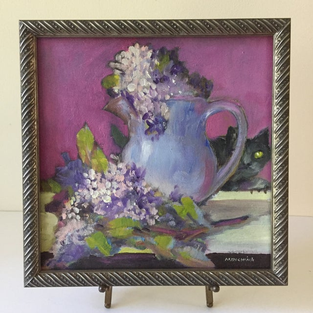 Canvas Original Flower & Cat Still Life Oil Painting by Marina Movshina For Sale - Image 7 of 7