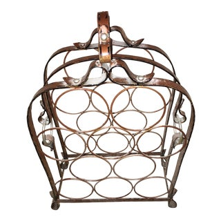 Adnet Hermes Style Faux Leather Metal Wine Rack